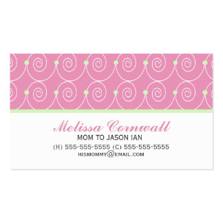 Green and Pink Calling Cards Business Card Templates