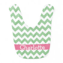 Green And Pink Chevron Zigzag Personalized Bib
