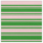 [ Thumbnail: Green and Pink Colored Striped Pattern Fabric ]