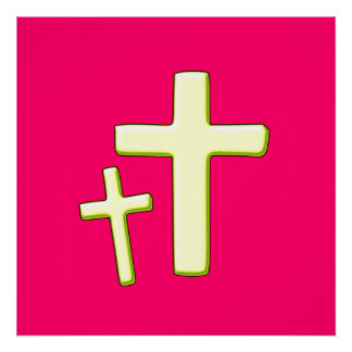 Green And Pink Cross Design Poster