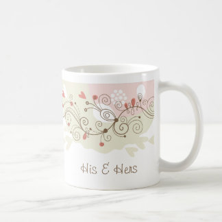 Green and Pink Curls Valentines Coffee Mug