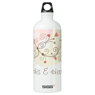 Green and Pink Curls Valentines Water Bottle