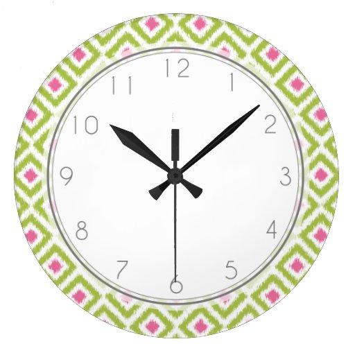 Green and Pink Diamond Ikat Pattern Wall Clocks