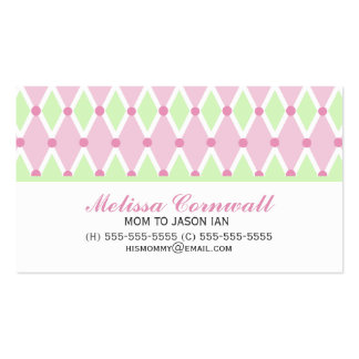 Green and Pink Diamonds Pattern Mommy Cards Business Cards