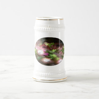 Green and Pink Floral Beer Stein