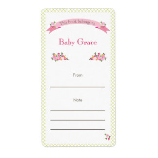 Green and Pink Floral Bookplate