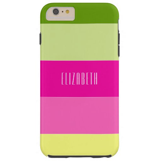 Green and Pink Floral Citrus Striped Monogram Tough iPhone 6 Plus Case