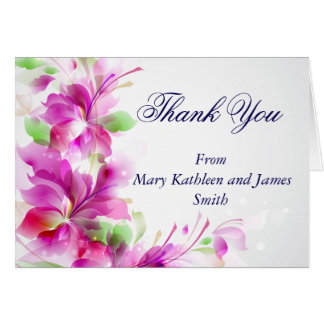 Green and Pink Floral Design Thank You Note Card