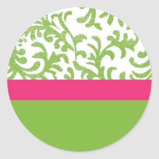 Green and Pink Floral Pattern Classic Round Sticker