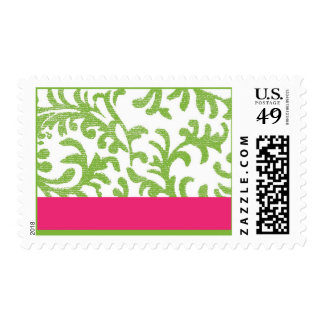 Green and Pink Floral Pattern Postage