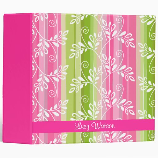 Green and pink floral pattern with stripes 3 ring binders