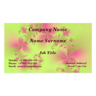 Green and Pink Floral Spiral Classic Business Card Pack Of Standard Business Cards
