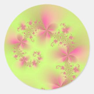 Green and Pink Floral Spiral Round Sticker