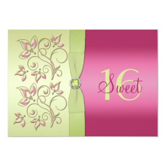 Green and Pink Floral Sweet Sixteen Invitation