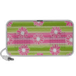 Green and pink flowers with stripes notebook speaker