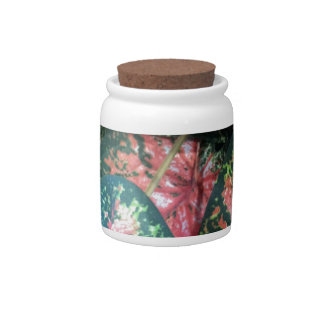 Green and Pink Foliage Candy Dish