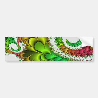 Green and Pink Fractal Swirls and Twirls Bumper Sticker