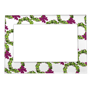Green and Pink Glittery Wreath of Ornaments Magnetic Frame