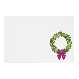 Green and Pink Glittery Wreath of Ornaments Placemat