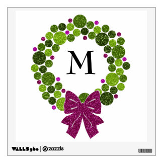 Green and Pink Glittery Wreath of Ornaments Wall Sticker
