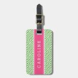 Green and Pink Greek Key Custom Monogram Bag Tags