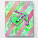 Green and Pink Gymnastics Heart Customizable Display Plaques