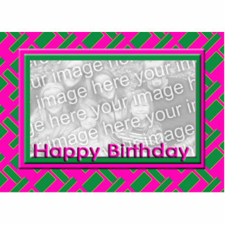 green and pink Happy Birthday photo frame Cutout