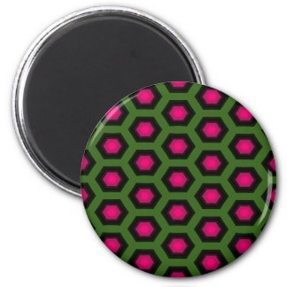 Green and Pink  Honeycomb Pattern Magnet