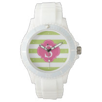 Green and Pink Horizontal Stripes Monogram Wrist Watch