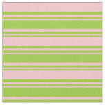 [ Thumbnail: Green and Pink Lined/Striped Pattern Fabric ]