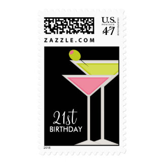 Green and Pink Martinis Postage