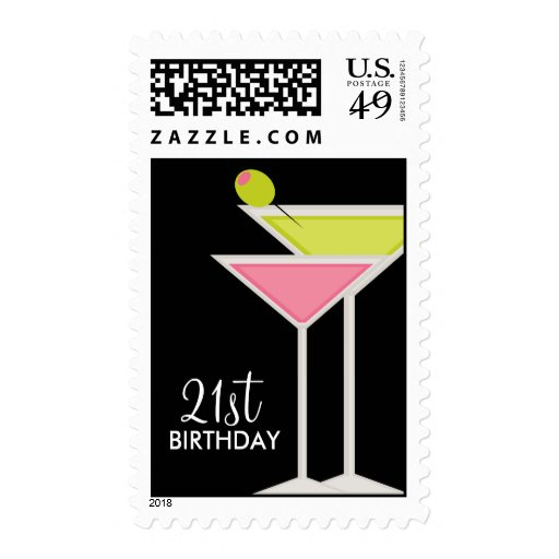 Green and Pink Martinis Postage Stamps