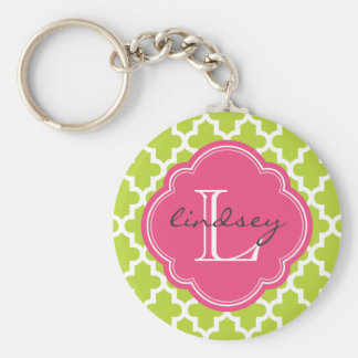Green and Pink Modern Moroccan Custom Monogram Keychain
