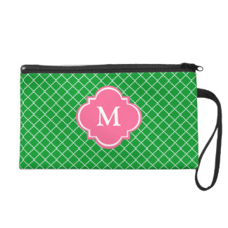 Green and Pink  Mongoram Wristlet Gift for Her