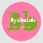 Green and Pink Monogram Business Logo Round Stickers