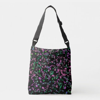 Green and Pink Music Notes on Black Tote Bag