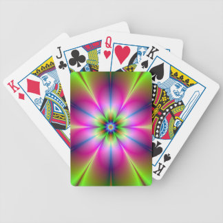 Green and Pink Neon Flower Cards Bicycle Playing Cards