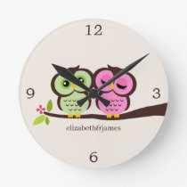Green and Pink Owl Couple Round Clock