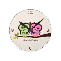 Green and Pink Owl Couple Wallclocks