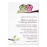 Green and Pink Owls Wedding Card