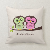 Green and Pink Owls Wedding Throw Pillow