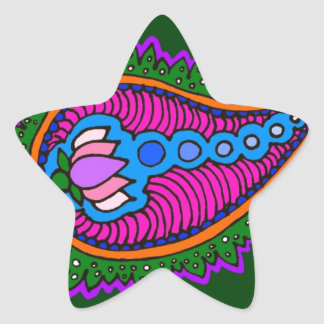 Green and pink paisley star sticker