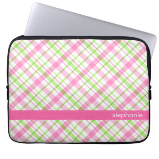 Green and Pink Plaid Pattern Laptop Computer Sleeve