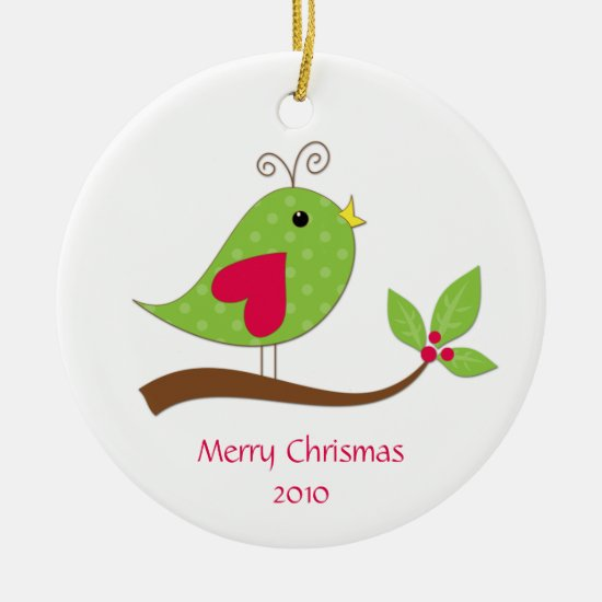 Green and Pink Polka Dot Love Bird on Branch Ceramic Ornament