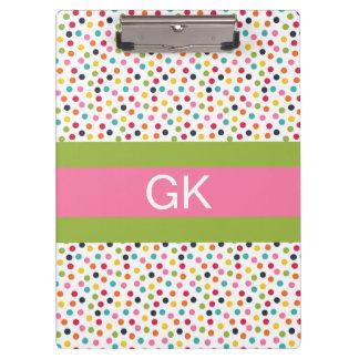 Green and Pink Polka Dot Monogram Clipboard