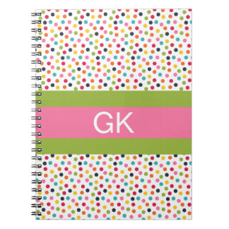 Green and Pink Polka Dot Monogram Notebook