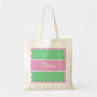 Green and Pink Polka Dots Bride or Bridesmaid V366 Tote Bag