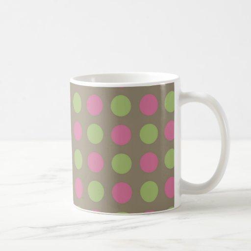 Green and pink polka dots pattern coffee mug