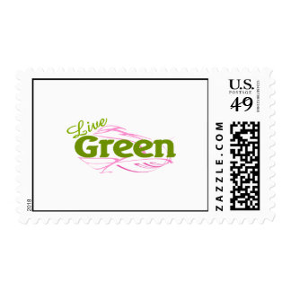 green and pink postage