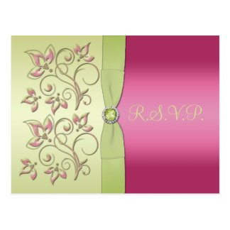 Green and Pink R.S.V.P. Postcard
